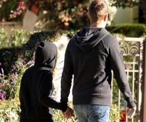 **EXCLUSIVE** Ashley Tisdale wears a skeleton sweatshirt as she and her boyfriend Scott Speer walk to get some coffee at Coffee Bean